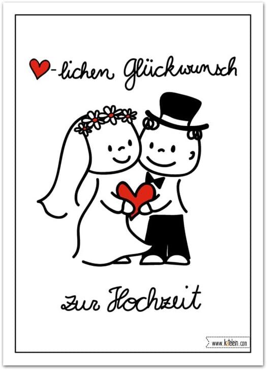 Herzlichen Gluckwunsch Zur Hochzeit Karte Brautpaar Lustiges Design Cartoon Comic Set Zu 10 Stuck Amazon De Burobedarf Schreibwaren