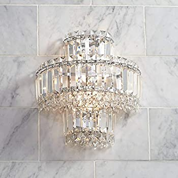 Feiss Wb1585bus Leila Crystal Wall Sconce Lighting Satin