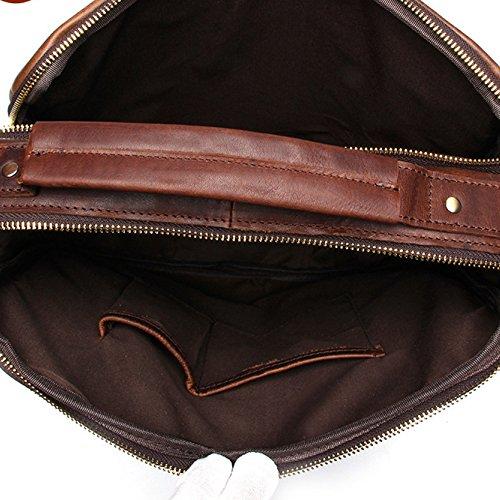 RENHONG Männer Retro Mode Echt Leder Aktentasche Schultertasche Messenger Bag Business Casual Büro College Bag C