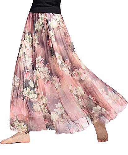 - Women's Chiffon Long Maxi Skirt Elastic Waist Bohemian Beach Skirt (Waist:19.5
