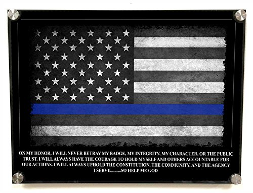 Brotherhood Police Officers Oath Stand Off Wall Decor - Thin Blue Line American Flag Police Academy Graduation Gift - Police Wall Art ()