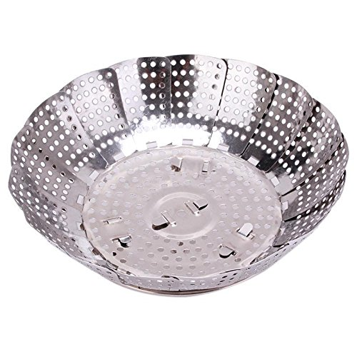 S&M TREADE-Folding Stainless Mesh Dish Vegetable Egg Fruit Steamer Basket Cook Poacher - Base Tint Egg