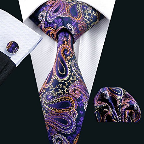 Dream Pole - C-633 Paisely Purple Men's Tie Set Hankerchief Cufflinks Classic Business Tie (Dog Halloween Costume Martini)