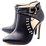 Ankle Boots for Women,Bare Legged Pointed Women's Boots, Rhinestone Booties Black Size 9