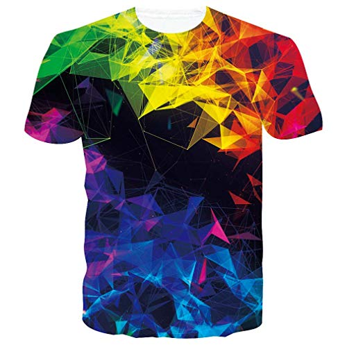RAISEVERN 3D Printed Colorful Irregular Crystal Tshirts Summer Casual Short Sleeve Tees T Shirt for Boys Girls Small