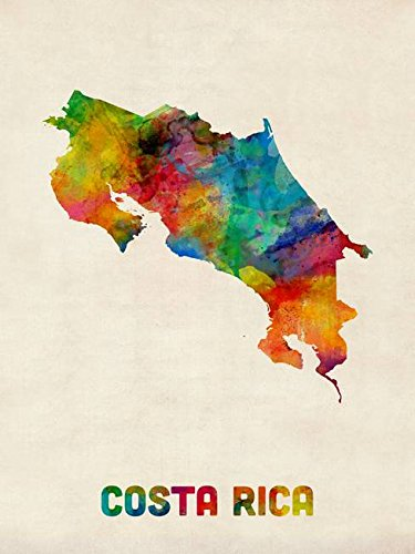 (Imagekind Wall Art Print Entitled Costa Rica Watercolor Map by Michael Tompsett   8 x 10)