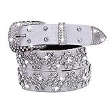 Women's Korean Fashion PU White Waist Bling Belts