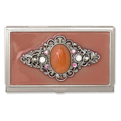 Steel Peach Enameled & Strawberry Qtz Business Card (Strawberry Italian Charm)