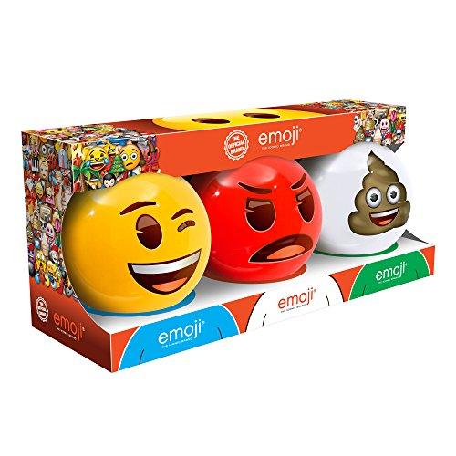 emoji Mini 3 Dodge Ball Set with Display Stands - Wink, Angry and Poop Mini Dodge Balls by emoji