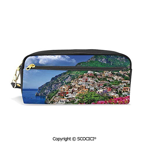 Girls Boys 3D Printed PU Pencil Case Holders Bag with Zipper Scenic View of Positano Amalfi Naples Blooming Flowers Coastal Village Image Stationery Makeup Cosmetic Bags Back to School