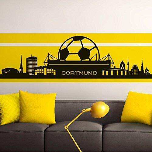 Grandora Wandtattoo Skyline Dortmund I Schwarz Bxh 165 X 47 Cm I Wohnzimmer Schlafzimmer Stadt Fussball Fan Verein Aufkleber Wandaufkleber