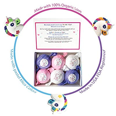 Kids Unicorn Bath Bombs Super Fun girls Gift Set Fizzies Bubble Bath with Surprise Toys Inside Each Fizzy Bomb, Kid Safe, Natural and Organic Essential Oils, 5oz 6 Packs XL USA Handmade With 100% Love