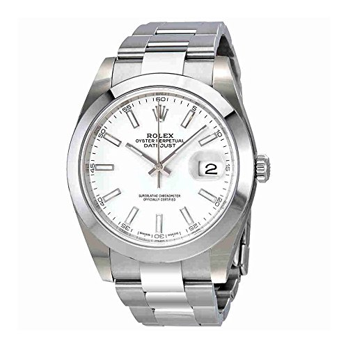 Rolex Oyster Perpetual Datejust White Dial Automatic Mens Watch (Rolex Datejust Perpetual)
