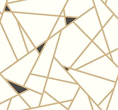 York Wallcoverings RY2702 Risky Business 2 Prismatic Removable Wallpaper, Metallic Gold/Black/White