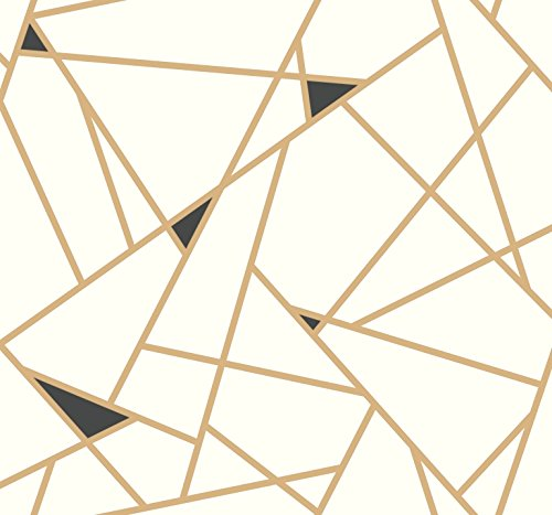 York Wallcoverings RY2702 Risky Business Geometric Removable Wallpaper, Gold/White - Ultra Easy