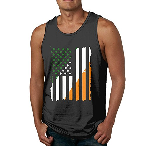 VESTone Men's Sleeveless T-Shirts Irish American Flag Slim Fit Shirt Tank Tops Undershirts