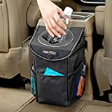 automotive trash container - High Road StashAway Car Trash Can with Lid and Storage Pockets