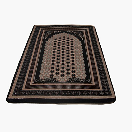 Sajjada Orthopedic Memory Foam Area Rug & Runners (Prayer Rug) (Black) - Prayer Carpet