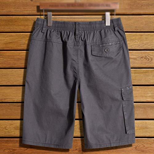 Tinta Unita Tascabili Uomo Pantaloncini Estivi Festivo Allacciare Grau 1 Da Casual Facili Larghi Lavoro Abbigliamento Bermuda qXIX8at