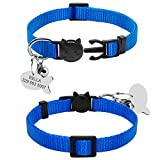 Didog Soft Nylon Breakaway Collar for Dog and Cat with Engraved Fish Shaped ID Tag,Blue