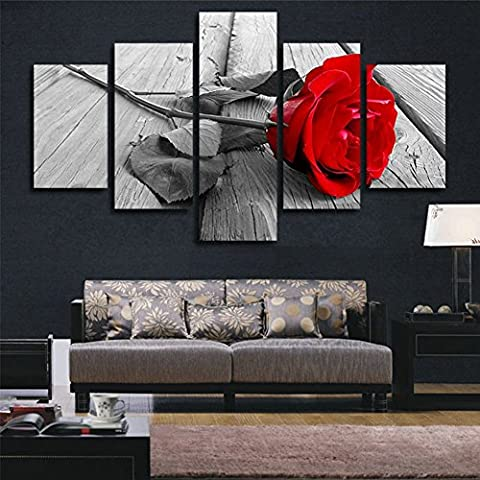 H.COZY Art Abstract Art Rose In Black White Red Decorative Wall Decorative Canvas Print Set Of 5 (no frame) Unframed FCR01 50 inch x30 (Red And Black Canvas Art)