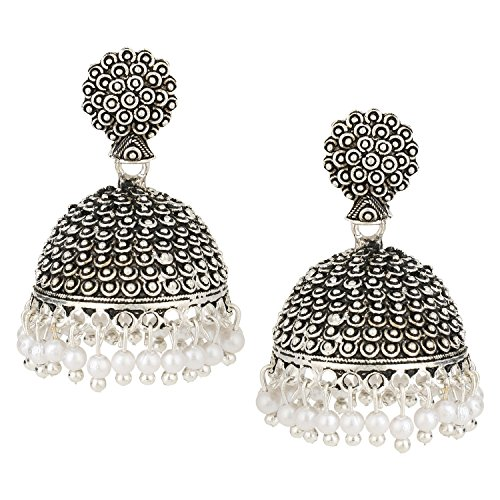 age Bollywood Gypsy Oxidized Silver Tone Temple Ethnic Jhumka Jhumki Earrings for Women ()