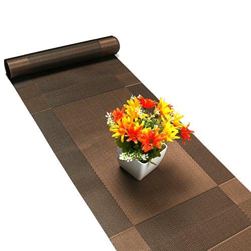 Compatible Placemats table runner,U'artlines 1 piece Crossweave Woven Vinyl Table Runner Washable 30x180cm (Brown, Table runner) by U'Artlines (Image #2)