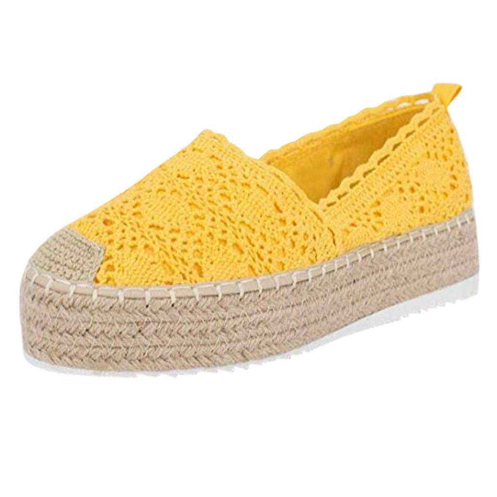 HENWERD Women's Hollow Platform Casual Shoes Solid Color Breathable Wedge Espadrilles (Yellow,5 US)