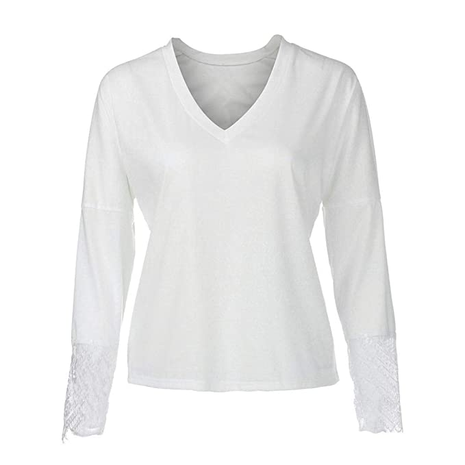 Mujeres Tops Rovinci Las Mujeres de Moda cómoda Larga Manga Larga de Encaje con Cuello en V Blusa Floja Pullover Top Manga Larga Camisetas Mujer Basicas: ...