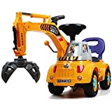 3-in-1 Grabber, Scooter & Pulling cart, Pretend play engineer truck with Light & Sound (color may vary) by POCO DIVO