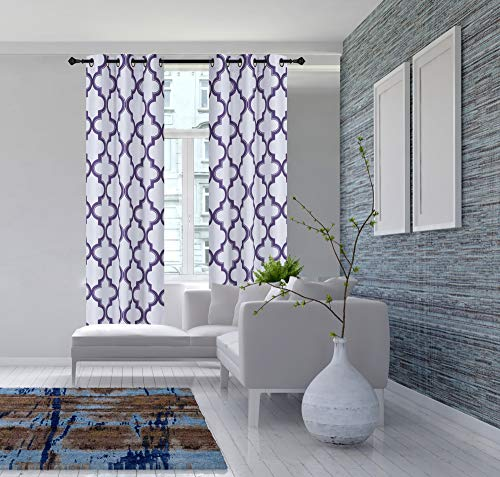 GorgeousHome (7LO) 1PC Geometric 2-Shade Print Lined Blackout Window Curtain Grommet Top Panel Drape Living Room Many Colors 2 Sizes (Purple, 63