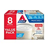Atkins Gluten Free Protein-Rich Shake, French Vanilla, Keto Friendly, 8 Count (Pack of 1)