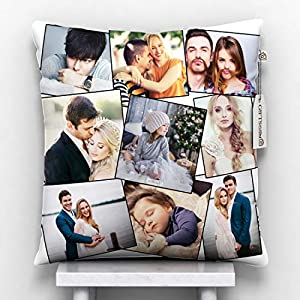 GiftsOnn 9 Photos Personalized Cushion (Collage Pillow, 12″x12″) (12×12, Collage)