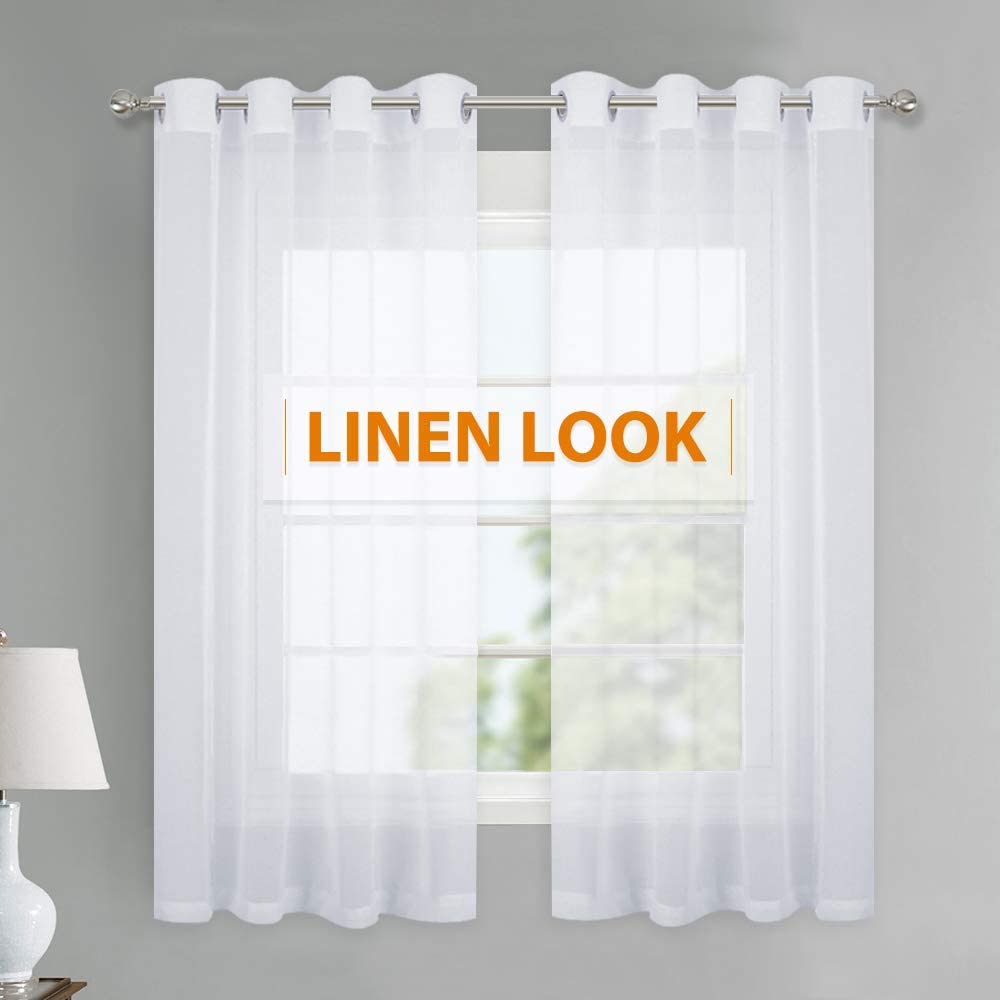 RYB HOME Sheer Linen Curtains for Kitchen, Grommet Top Privacy Sheer Drapes for Small Window Bedroom Entryway, Sunlight Glare Filtering, 55-inch Wide x 45-inch Long, 1 Pair