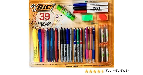BIC 39 Essentials Pack incluye rotulador, rotulador, marcador ...