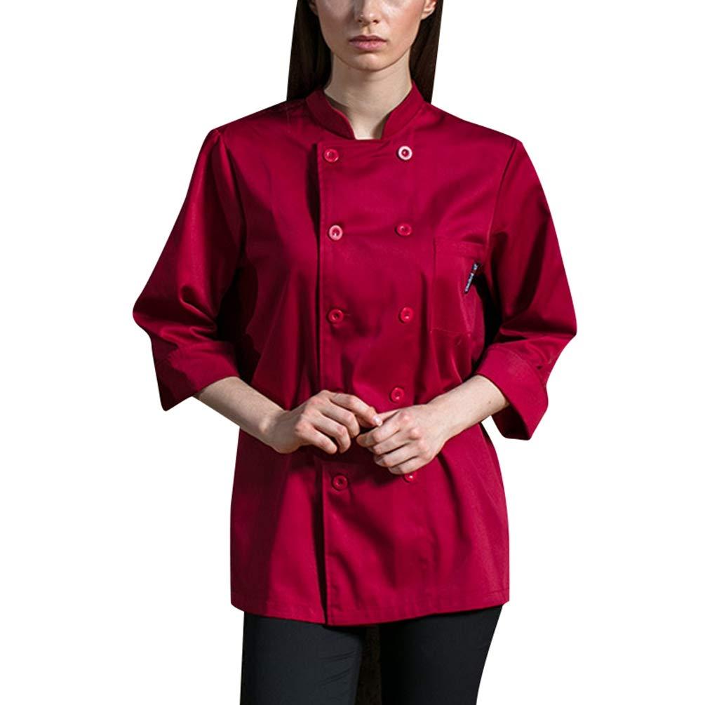Dexinx Unisex Chef Giacca 3/4 Manica Cook Cucina di Lavoro Professionale Uniforme Top