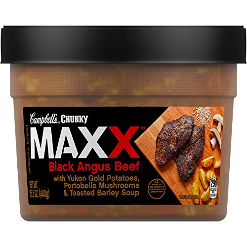 Campbell's Chunky Maxx Black Angus Beef with Yukon Gold Potatoes, Portobello Mushrooms and Toasted Barley Soup, 15.5 oz. Tub (Pack of 8) (Packaging May (Potatoes Mushroom Soup)