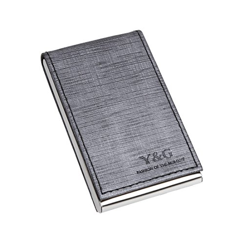YDC06B02 Silver Grey Working Day Gift Idea Artificial Leather Card Holder Presents Business Card Cases With Gift Box By Y&G ()