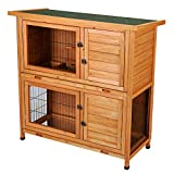CO-Z 2 Tier Stacked Wooden Outdoor Rabbit Hutch/Guinea Pig House/Bunny Cage, 2 Story Design