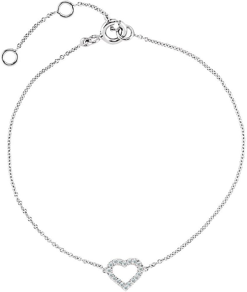 Jewels By Lux Sterling Silver w//14K Gold Black Diamond Heart Link Bracelet