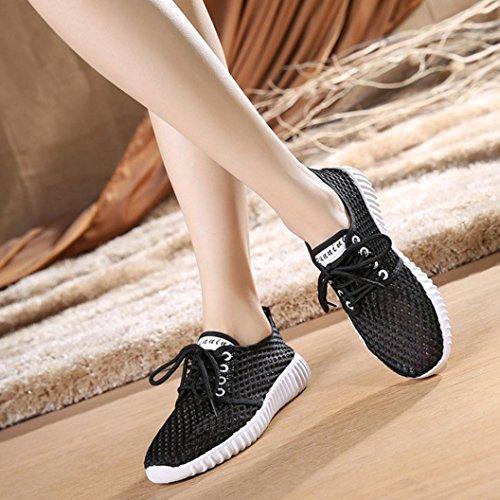 Zapatillas Merceditas Sandalias Transpirable Deportivo de Zapatos QinMM o Mocasines Respirable de Oto Negro Alpargatas Mujer BO1xYwBTn