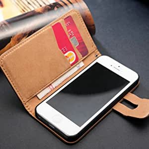 Stand Wallet Soft Feel Luxury PU Leather Case For iPhone 5 5S With Bill Site 2 Card Holder Wholesale 10 Pcs/lot --- Color:light brown