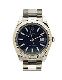 Rolex Datejust II Blue Index Dial Fluted 18k White Gold Bezel Oyster Bracelet Mens Watch 116334BLSO by Rolex