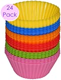 #1 Non Stick Silicone Cupcake Cups 24 Pack - Rainbow Bright Standard ...
