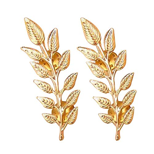 oAtm0eBcl Brooch Pin, 1 Pair Vintage Leaves Shaped Lapel Brooch Pin for Men Women, Suits Shirts Collar Button Decor for Evening Party Banquet Golden