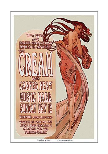Raw Sugar Art Studio Cream/Eric Clapton/Canned Heat 1968 Cleveland Concert Poster