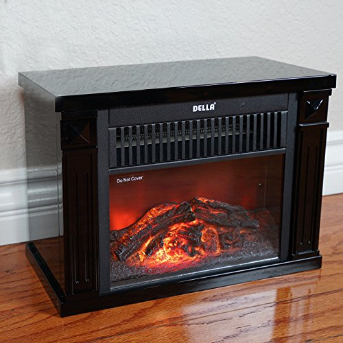 New Black Infrared Tabletop Space Heater Flame Effect Mini