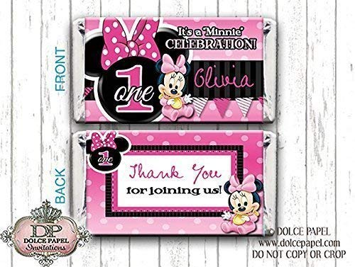 10 Pink and Black BABY MINNIE MOUSE Custom Birthday Mini Hershey Candy Bar Wrappers]()