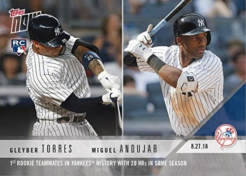 - 2018 Topps Now Baseball #648 Gleyber Torres/Miguel Andujar Rookie Card - 1st Rookie Teammates in Yankees History with 20 Home Runs in Same Season - Only 2,529 made!