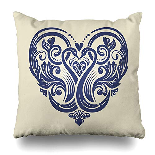 (Ahawoso Throw Pillow Cover Style Damask Victorian Ornate Heart Pattern Weddings Rococo Abstract Vintage Locket Filigree Emblem Zippered Pillowcase Square Size 16 x 16 Inches Home Decor Cushion Case)